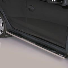 Pair of Oval Black 76mm Side Bars with Design Steps Sandero Stepway (2013 Onwards)