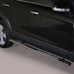 Pair of Oval Black 76mm Side Bars with Design Steps Chevrolet Captiva (2011 - 2013)