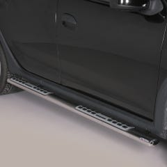 Pair of Oval Stainless Steel 76mm Side Bars with Design Steps Sandero Stepway (2013 - 2019)