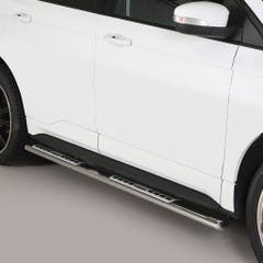 Pair of Oval Stainless Steel 76mm Side Bars with Design Steps Ford Edge (2016 Onwards)