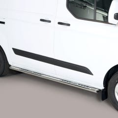 Pair of Oval Stainless Steel 76mm Side Bars with Design Steps Ford Transit Custom (2013 - 2017)