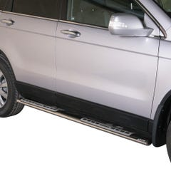 Pair of Oval Stainless Steel 76mm Side Bars with Design Steps Honda CRV (2010 - 2012)