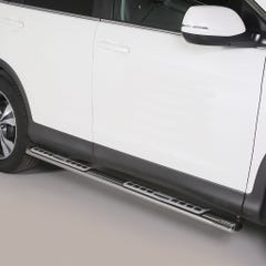 Pair of Oval Stainless Steel 76mm Side Bars with Design Steps Honda CRV (2012 Onwards)