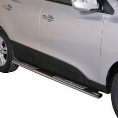 Pair of Oval Stainless Steel 76mm Side Bars with Design Steps Hyundai IX35 Mk1 (2010 Onwards)