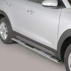Pair of Oval Stainless Steel 76mm Side Bars with Design Steps Hyundai Tucson Mk2 (2015 Onwards)