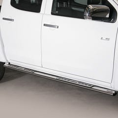 Pair of Oval Stainless Steel 76mm Side Bars with Design Steps Isuzu D-Max Mk4-5 (2012 - 2020)
