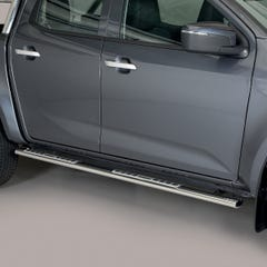 Side Bars (Oval) with Design Steps (76mm) Isuzu D-Max Mk6 (2021 Onwards) Double Cab, Stainless Steel