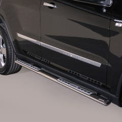 Pair of Oval Stainless Steel 76mm Side Bars with Jeep Grand Cherokee (2011 - 2014)