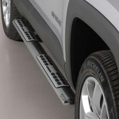 Pair of Oval Stainless Steel 76mm Side Bars with Design Steps Jeep Renegade Mk1 (2014 - 2017)