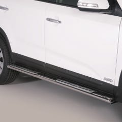 Pair of Oval Stainless Steel 76mm Side Bars with Design Steps Kia Sorento Mk4 (2012 - 2015)
