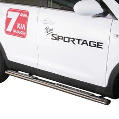 Pair of Oval Tube Side Bars with Design Steps 76mm SS Mach for Kia Sportage Mk5
