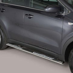 Pair of Oval Stainless Steel 76mm Side Bars with Design Steps Kia Sportage Mk6 (2016 - 2017)