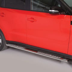 Pair of Oval Stainless Steel 76mm Side Bars with Design Steps Kia Soul Mk1 (2014 Onwards)