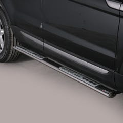 Pair of Oval Tube Side Bars with Design Steps 76mm SS Mach Evoque Mk1 (11 on)