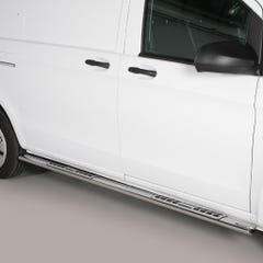 Pair of Oval Stainless Steel 76mm Side Bars with Design Steps Mercedes Vito Mk3 (2010 - 2014) SWB