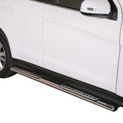 Pair of Oval Stainless Steel 76mm Side Bars with Design Steps Mitsubishi ASX (2010 - 2011)