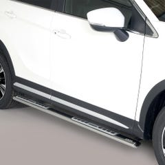 Pair of Oval Stainless Steel 76mm Side Bars with Design Steps Mitsubishi Eclipse (2018 Onwards)