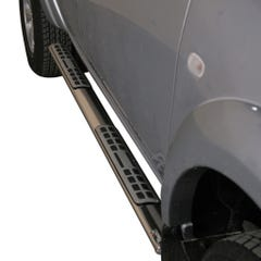 Pair of Oval Stainless Steel 76mm Side Bars with Design Steps Mitsubishi L200 Mk7 (2010 - 2015) Double Cab