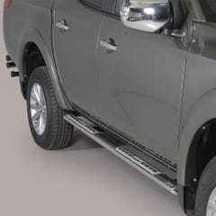 Pair of Oval Stainless Steel 76mm Side Bars with Design Steps Mitsubishi L200 Mk8-9 (2015 - 2018) Double Cab
