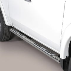 Pair of Oval Stainless Steel 76mm Side Bars with Design Steps Mitsubishi L200 Mk8-9 (2015 - 2018) Extra Cab