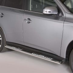 Pair of Oval Stainless Steel 76mm Side Bars with Design Steps Mitsubishi Outlander (2013 - 2015)