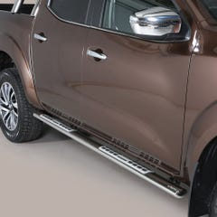 Pair of Oval Stainless Steel 76mm Side Bars with Design Steps Navara NP300 (2016 Onwards) Double Cab