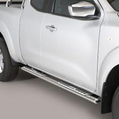 Pair of Oval Stainless Steel 76mm Side Bars with Design Steps Navara NP300 (2016 Onwards) Extra Cab