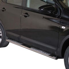Pair of Oval Stainless Steel 76mm Side Bars with Design Steps Qashqai Mk2 (2010 - 2014)