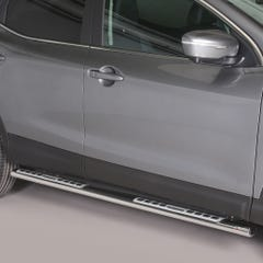 Pair of Oval Stainless Steel 76mm Side Bars with Design Steps Qashqai Mk3 (2014 - 2016)