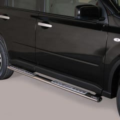 Pair of Oval Stainless Steel 76mm Side Bars with Design Steps Nissan X-Trail (2011 - 2014)