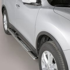 Pair of Oval Stainless Steel 76mm Side Bars with Design Steps Nissan X-Trail (2015 - 2017)