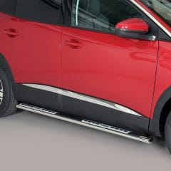 Pair of Oval Stainless Steel 76mm Side Bars with Design Steps Peugeot 3008 (2018 Onwards)
