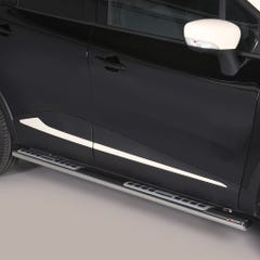 Pair of Oval Tube Side Bars with Design Steps 76mm SS Mach for Captur Mk1(13 on)