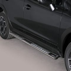 Pair of Oval Tube Side Bars with Design Steps 76mm SS Mach for Subaru XV (12 on)