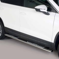 Black Oval Tube Side Bars with Design Steps 76mm Mach Seat Ateca (18on)