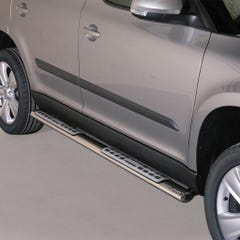 Pair of Oval Stainless Steel 76mm Side Bars with Design Steps Skoda Yeti (2010 - 2013