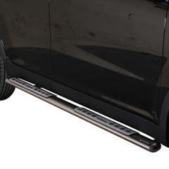 Pair of Oval Stainless Steel 76mm Side Bars with Design Steps SsangYong Korando (2011 - 2019)