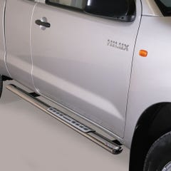 Pair of Oval Stainless Steel 76mm Side Bars with Design Steps Toyota Hilux Mk8-9 (2016 Onwards) Double Cab