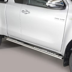 Pair of Oval Stainless Steel 76mm Side Bars with Design Steps Toyota Hilux Mk8-9 (2016 Onwards) Extra Cab