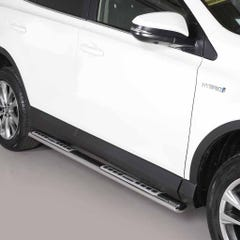 Oval Tube Side Bars with Design Steps SS Mach for Toyota Rav4 Mk7-8 (13 on)