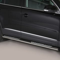 Pair of Oval Stainless Steel 76mm Side Bars with Design Steps Volkswagen Tiguan Mk2 (2011 - 2015)