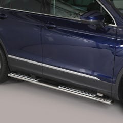 Pair of Oval Stainless Steel 76mm Side Bars with Design Steps Volkswagen Tiguan Mk3 (2016 Onwards)