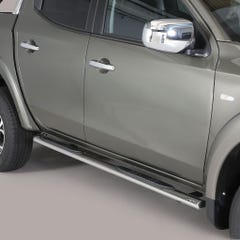 Oval Tube Side Bars with Steps 76mm SS Mach for Mitsubishi Fullback Mk1 DC
