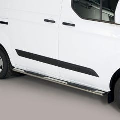 Pair of Oval Stainless Steel 76mm Side Bars with Steps Ford Transit Custom (2012 Onwards)