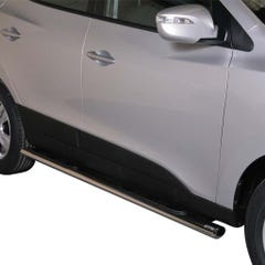 Pair of Oval Stainless Steel 76mm Side Bars with Steps Hyundai IX35 Mk1 (2010 Onwards)
