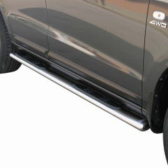 Pair of Oval Stainless Steel 76mm Side Bars with Steps Hyundai Santa Fe Mk2 (2005 - 2009)