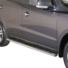 Pair of Oval Stainless Steel 76mm Side Bars with Steps Hyundai Mach Santa Fe Mk4 (2010 - 2012)