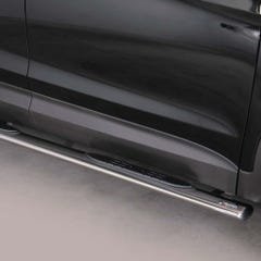Pair of Oval Stainless Steel 76mm Side Bars with Steps Hyundai Mach Santa Fe Mk5 (2012 Onwards)