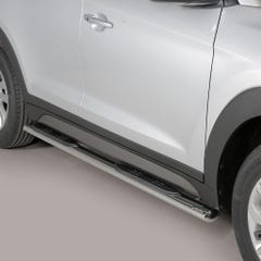 Pair of Oval Stainless Steel 76mm Side Bars with Steps Hyundai Tucson Mk2 (2015 Onwards)