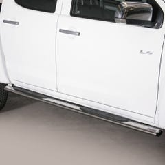 Pair of Oval Stainless Steel 76mm Side Bars with Steps Isuzu D-Max Mk4-5 (2012 - 2020)